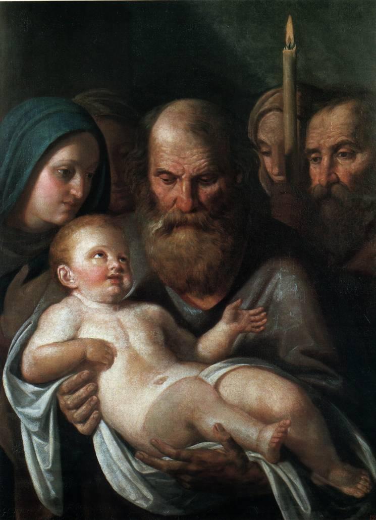 Simeão com Jesus no colo